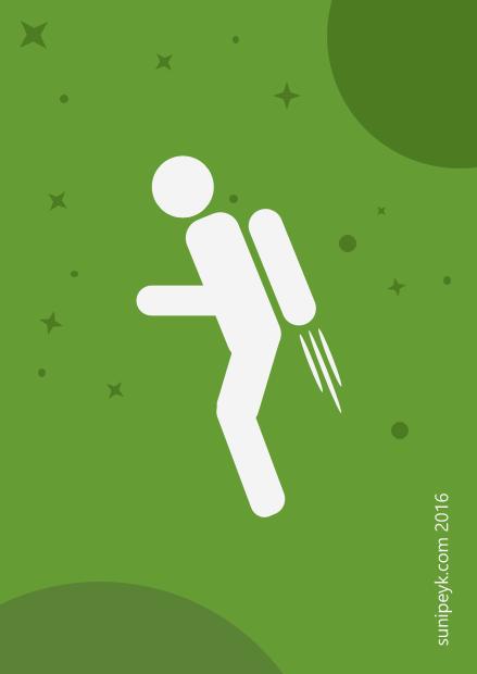 Jetpack kullanan bir pictogram görseli