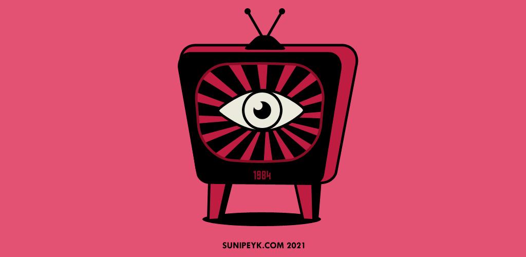 1984 kitabı için kapak görseli, televizyon içinde göz ikonu