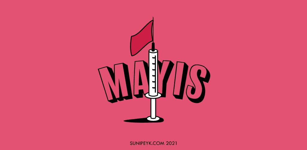1 mayıs, bir aşı enjektörü şeklinde bayraklı